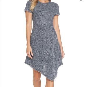 Eliza J Asymmetrical Tweed Navy Dress